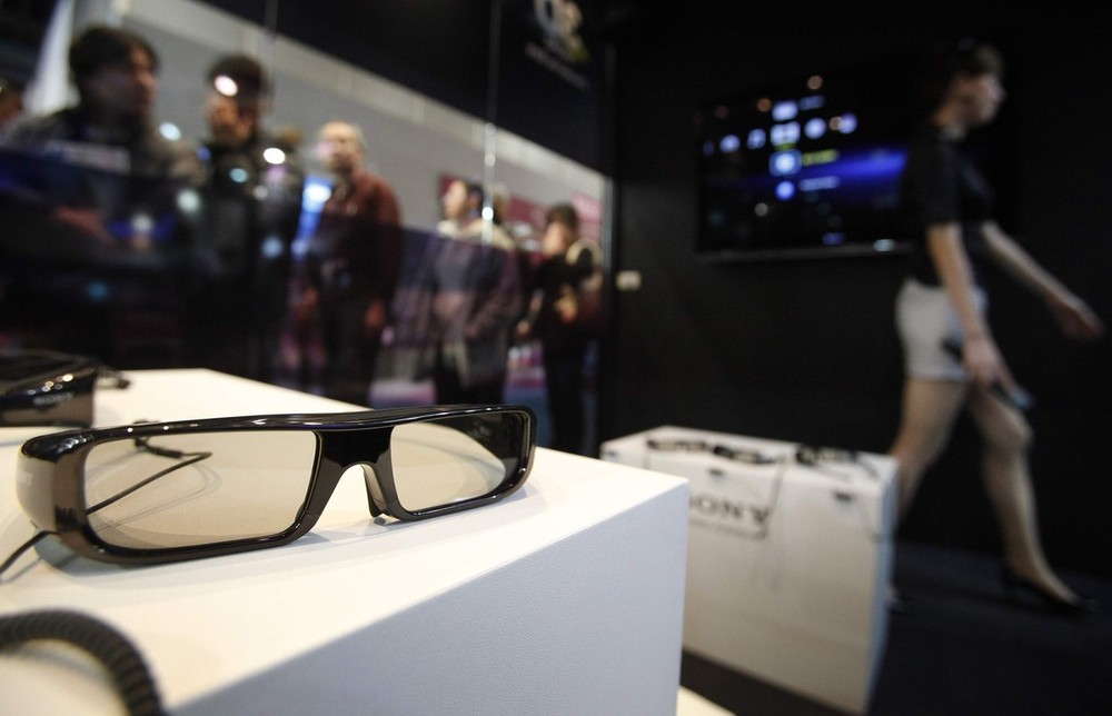 A pair of 3D glasses is placed on a table at a demonstration of the new Sony 3D television in Taiwan